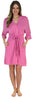 Pajama Heaven Women's Bamboo Jersey Short Wrap Robe with Pockets in Pink