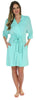 Pajama Heaven Women's Bamboo Jersey Short Wrap Robe with Pockets in Solid Teal Blue