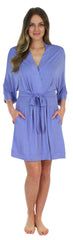 Pajama Heaven Women's Bamboo Jersey Short Wrap Robe with Pockets in Lavender