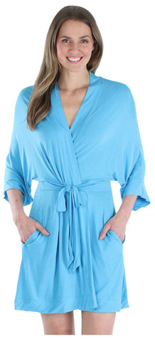 Women's Bamboo Jersey Short Wrap Robe with Pockets in  Light Blue