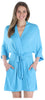 Pajama Heaven Women's Bamboo Jersey Short Wrap Robe with Pockets in Light Blue