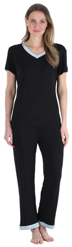 Women's Bamboo Jersey V-Neck Top and Pants Set with Satin Trim in Black