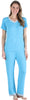 Women's Bamboo Jersey V-Neck Top and Pants Set with Satin Trim in Light Blue