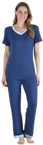 v-neck  with Pants in Navy
