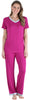 Women's Bamboo Jersey V-Neck Top and Pants Set with Satin Trim in Magenta