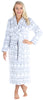 Women's Fleece Long Robe in Grey w/ White Snowflake Fairisle