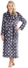 Women's Fleece Long Robe in Polka Dots Grey