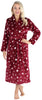 Women's Fleece Long Robe in Cranberry Star