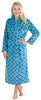 Women's Fleece Long Robe in Teal Diamond