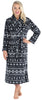 Women's Fleece Long Robe in Black Fairisle