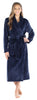 Women's Plush Fleece Long Bathrobe in Solid Navy Blue