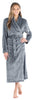Women's Plush Fleece Long Bathrobe in Solid Grey