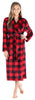 Women's Plush Fleece Long Bathrobe in Buffalo Plaid