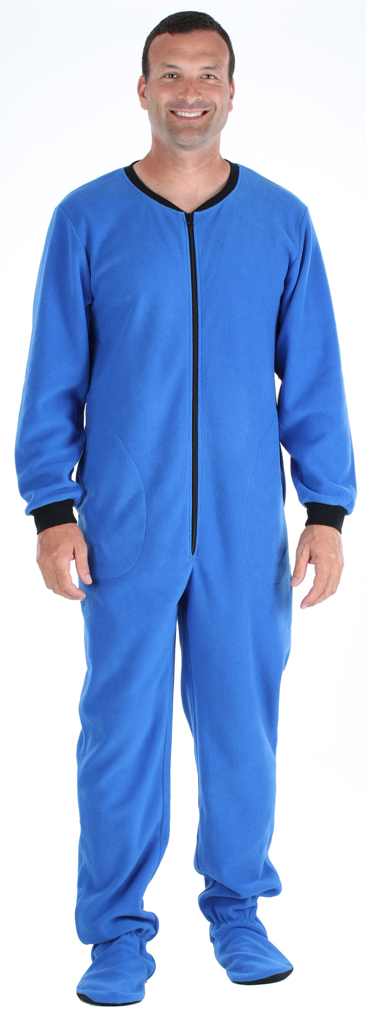 PajamaMania Men's Fleece Footed Solid Color Onesie Pajamas Jumpsuit