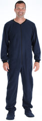Men's Fleece Footed Onesie Pajamas in Navy Blue