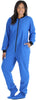 PajamaMania Women's Footed Fleece One Piece Pajamas in Blue w/ Black