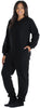 PajamaMania Women's Footed Fleece One Piece Pajamas in Black w/ Black