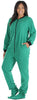 PajamaMania Women's Footed Fleece One Piece Pajamas in Green w/ Black