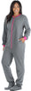 PajamaMania Women's Footed Fleece One Piece Pajamas in Grey With Pink