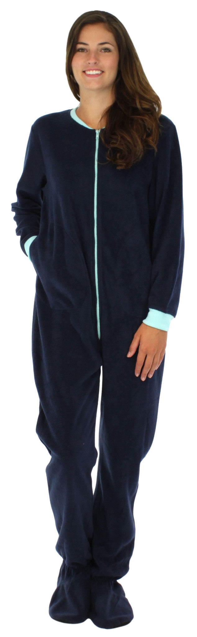 Women's Fleece Footed Solid Color Onesie Pajamas Jumpsuit