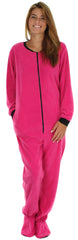 PajamaMania Women's Footed Fleece One Piece Pajamas in Hot Pink With Black