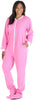 PajamaMania Women's Footed Fleece One Piece Pajamas in Light Pink With White