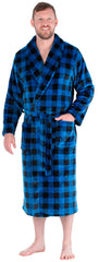 Men's Fleece Collard Robes in Blue and Black Plaid