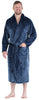 Men's Fleece Collard Robes in Solid Navy Blue