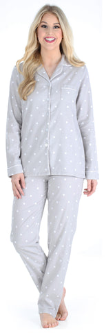 PajamaMania Women's Flannel Long Sleeve Pajamas in Grey Polka Dots