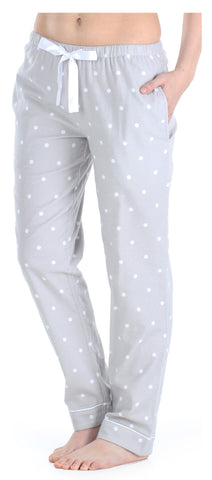 Women's Cotton Flannel Pajama PJ Pants in Grey Polka Dots