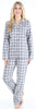 Women's Cotton Flannel Long Sleeve Pajamas PJ Set in Grey Plaid