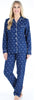 Women's Cotton Flannel Long Sleeve Pajamas PJ Set in Navy Polka Dot