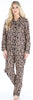 Women's Cotton Flannel Long Sleeve Pajamas PJ Set in Brown Leopard
