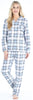 Women's Cotton Flannel Long Sleeve Pajamas PJ Set in Light Blue Plaid