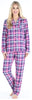 Women's Cotton Flannel Long Sleeve Pajamas PJ Set in Pink & Navy Plaid
