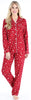 Women's Cotton Flannel Long Sleeve Pajamas PJ Set in Cranberry Star