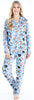 Women's Cotton Flannel Long Sleeve Pajamas PJ Set in Blue Dogs
