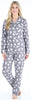 Women's Cotton Flannel Long Sleeve Pajamas PJ Set in Grey Cats
