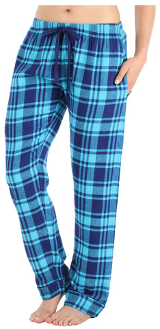 Women's Cotton Flannel Plaid Pajama Sleep Pants with Pockets