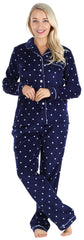 Women's Plush Fleece Long Sleeve 2-Piece Button-Down Pajamas in Navy Polka Dot
