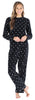 Women's Fleece Long Sleeve Pajamas PJ Set in Black & White Dot