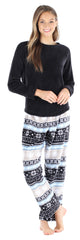 Women's Fleece Long Sleeve Pajama Set in Grey Fairisle