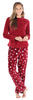Women's Fleece Long Sleeve Pajamas PJ Set in Cranberry Stars