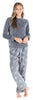 Women's Fleece Long Sleeve Pajamas PJ Set in Grey Snowflakes