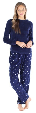 Women's Fleece Long Sleeve Pajamas PJ Set in Navy Polka Dot