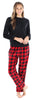 Women's Fleece Long Sleeve Pajamas PJ Set in Red and Black Plaid Solid Top