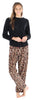 Women's Fleece Long Sleeve Pajamas PJ Set in Leopard Solid Top