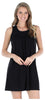 Women's Stretchy Knit Sleeveless Nightgown Beach Cover Up in Solid Black