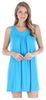 Women's Stretchy Knit Sleeveless Nightgown Beach Cover Up in Hawaiian Blue