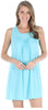 Women's Stretchy Knit Sleeveless Nightgown Beach Cover Up in Caribbean Blue